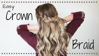 hair tutorial simple half up crown braid