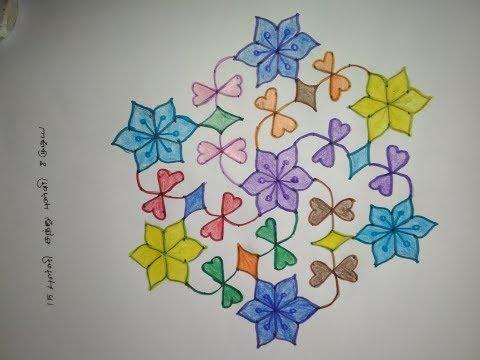 Pulli Kolam Design with dots step by step - Simple Pulli Kolam Step by Step