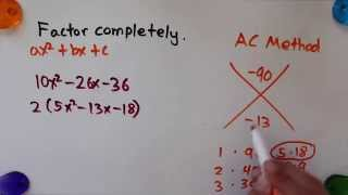 Factoring Quadratic Expressions (AC Method) - Learn With Color