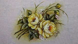 Como Pintar Mini Rosas Amarela