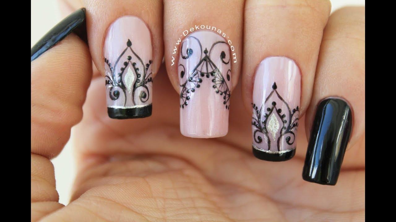 Diseño De Uñas Encaje Facil Lace Nail Art Youtube
