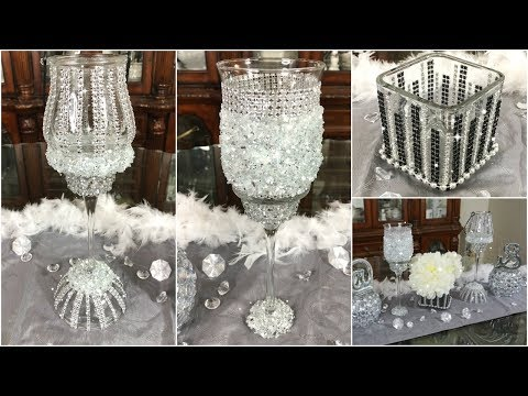 DIY GLAM DOLLAR TREE CANDLE HOLDERS & VASE  QUICK EASY AND INEXPENSIVE HOME DECOR IDEAS