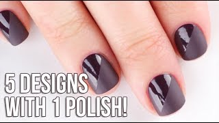 5 Easy Nail Art Designs Using One Color! (and matte top coat!) || KELLI MARISSA