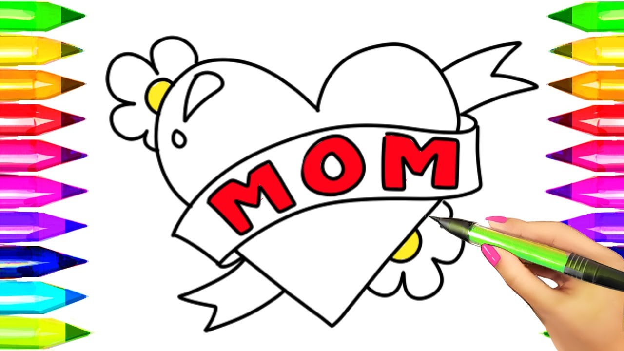 Mother\'s Day Heart Coloring Book | Learn Colors for Kids with ...