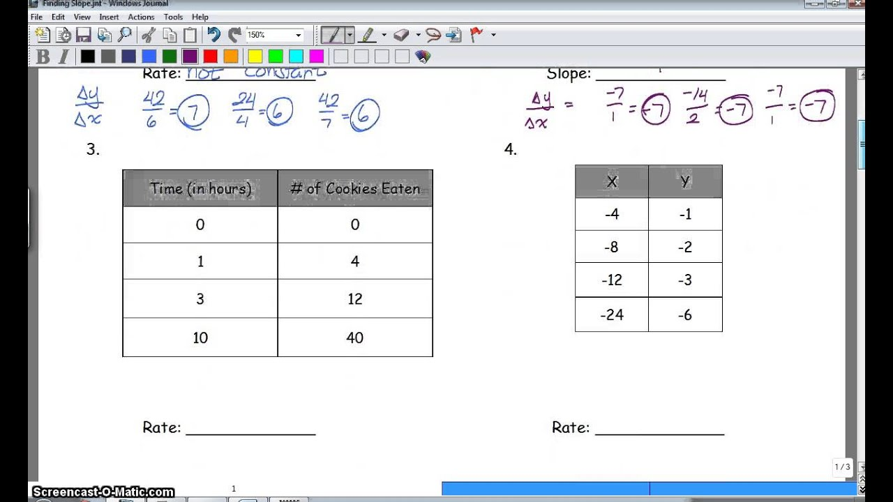 Slope or rate of change from a table youtube for Find a table
