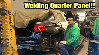 Rebuilding A Totaled Wrecked 2018 Bmw M3 From Copart Salvage Auction Welding Quarter Panel