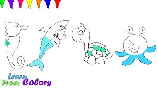 Shark Coloring Pages For Kids How To Draw Sea Animals Shark