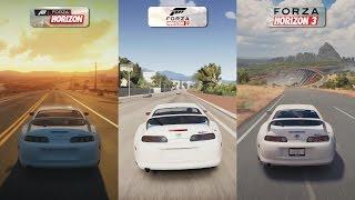 Forza Horizon Vs Forza Horizon 2 Vs Forza Horizon 3 - Toyota Supra RZ Sound Comparison