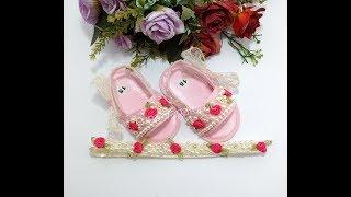 Aprenda Fazer Sapato de Bebê Bordado com Pérola