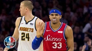 JJ Redick drops a hefty 34 points on top of debuts from Tobias Harris and Boban Marjanovic as the Philadelphia 76ers top the Denver Nuggets 117-110. Harris ...