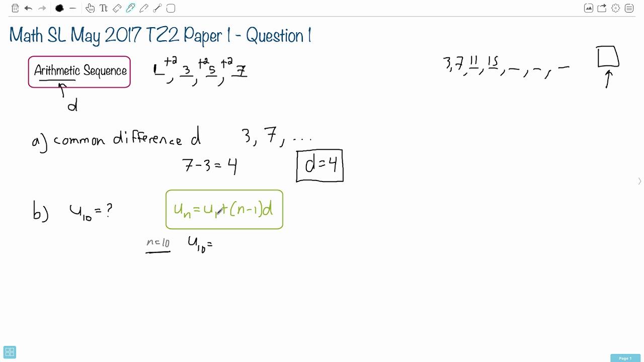 Question 1b — IB Math SL — May 2017 TZ2 Paper 1 — Past IB Exams Solutions