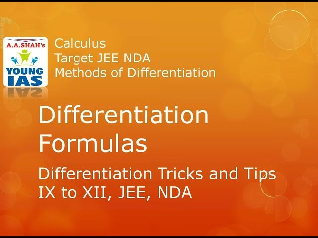 Differentiation formulas | Methods of Differentiation |  IX to XII, JEE Calculus | Target JEE, NDA,