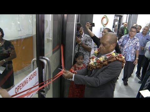 Fijian Minister, Hon. Jone Usamate opens LTA Suva Express Office, FNPF Plaza.