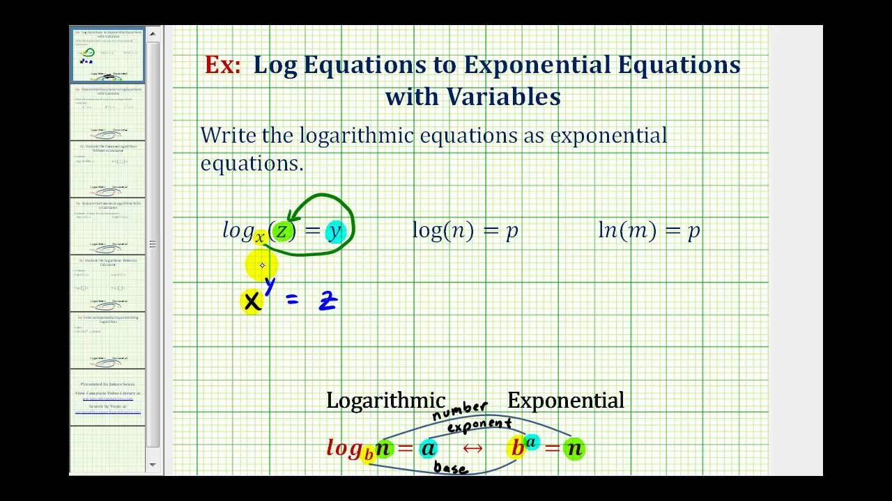 ex write logarithmic equations as exponential equations