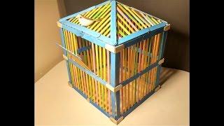 How To Make Popsicle Stick House For Bird! / Kuş Evi Ahşap Çubuklarla Nasıl Yapılır! DIY