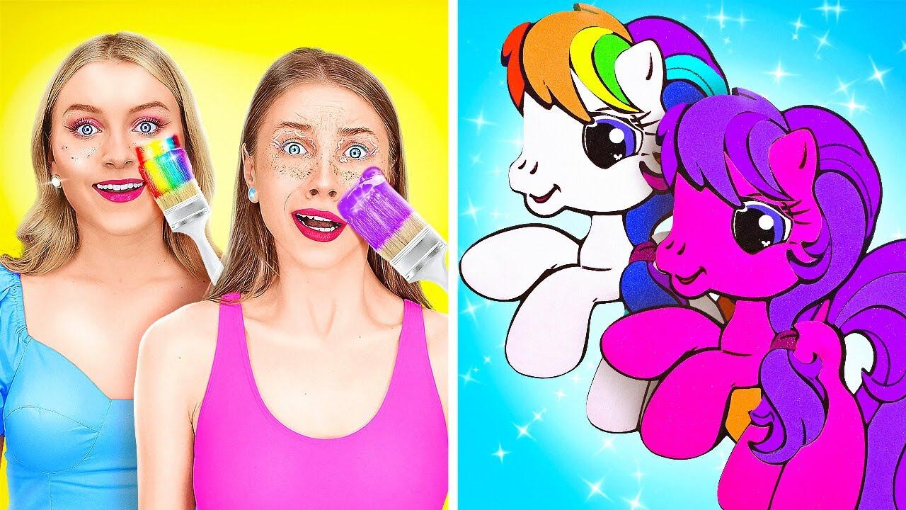 IF UNICORNS WERE PEOPLE    Dark Bad VS Good Rainbow Unicorn At School! DIY Hacks By 123 GO! TRENDS
