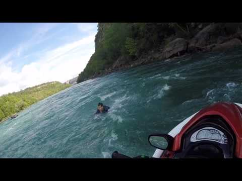 GUY FALLS OFF JETSKI IN NIAGARA FALLS RAPIDS