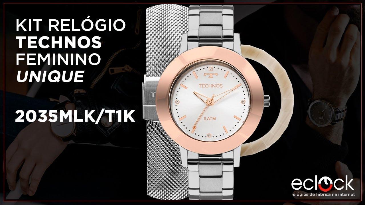 e55077376e3d7 Kit Relógio Technos Feminino Troca Pulseira e Aros Unique 2035MLK T1K -  Eclock