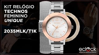 8489da4b6652e Kit Relógio Technos Feminino Troca Pulseira e Aros Unique 2035MLK T1K -  Eclock ...