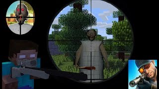 Monster School : SNIPER 3D GUN SHOOTER SHOOT  GRANNY  CHALLENGE  - Minecraft Animation
