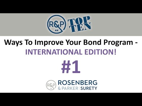 #1 - Top 10 Ways to Improve your Bond Program - International Edition