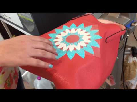How to put HTV on a pleather bag