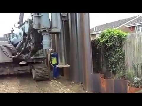 hydro press vibration free piling  Ivor King (CEC) LTD Sheet Piling Specialists