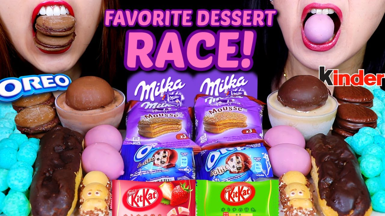 ASMR RACE! OUR FAVORITE DESSERTS (MILKA, OREO, KINDER, COTTON CANDY BALLS, KITKAT, ICE CREAM, PIE 먹방
