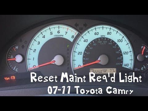 Reset Maint Req D Light 09 Toyota Camry 07 11 08 10 Maintenance Required