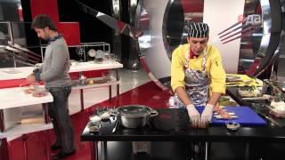 Филе осетрины со спаржей и соусом из креветок