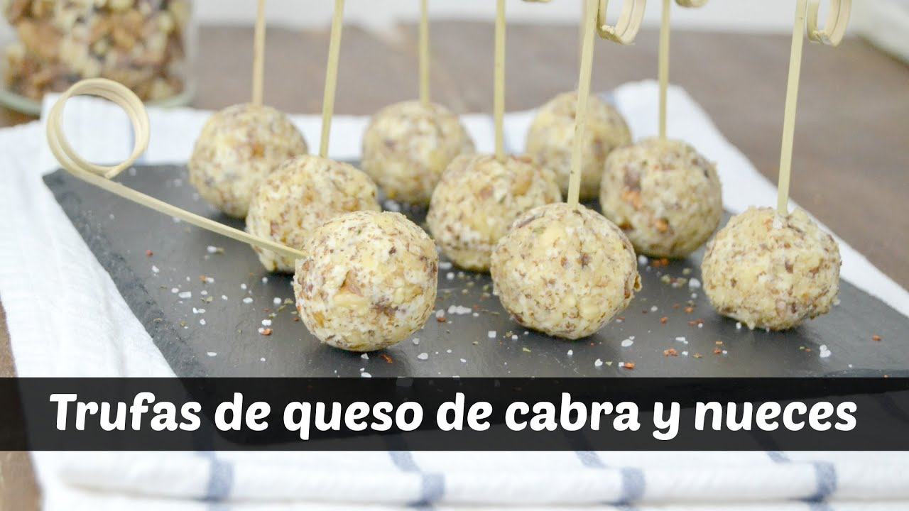 Trufas de queso de cabra y nueces receta f cil youtube for Canape queso de cabra