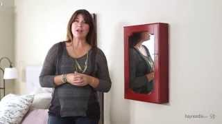 Distressed Wall Mount Mirrored Jewelry Armoire - Red - Product Review Video