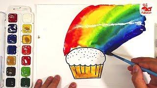 Урок рисования РАДУГА и КЕКС Акварельная краска