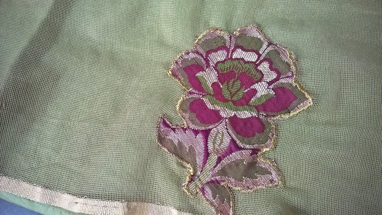 Hand embroidery designs . applique work on net cloth. youtube