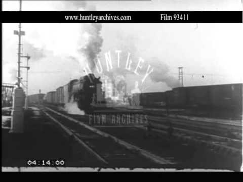 Freight locomotive at Denver, Colorado, 1930's.  Archive film 93411