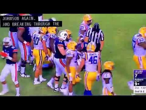 Auburn Offensive Tackle Robert Leff Moves the Pile Against LSU