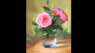 Светящаяся роза живопись маслом