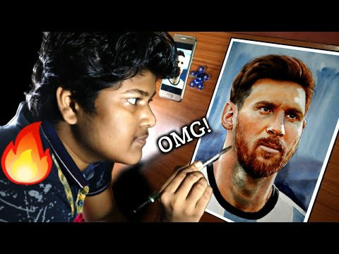 Messi Drawing 🔥 Drawing Messi With Watercolour 💥 Lionel Messi drawing / drawing messi / #messi