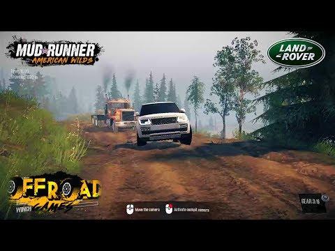 Spintires: mudrunner Range Rover pulling the damaged Truck