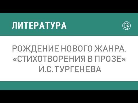 Рождение нового жанра. «Стихотворения в прозе» И.С. Тургенева