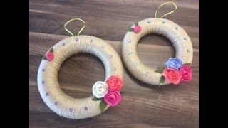 DIY Türkranz basteln mit Sola Holz Blumen, einfach und schnell, Kranz basteln