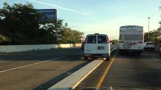 Van Driver Jumping the Barrier on Route 1 / 9 approaching Pulaski Skyway in New Jersey