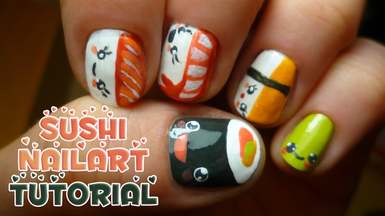 Tutorial: How to make sushi nail art - entry for luckycharms2407 ...