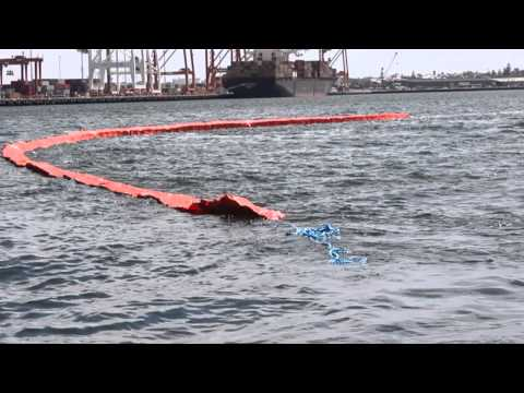Demonstration Short of Expandi Self-Inflatable Oil Spill Boom -short version