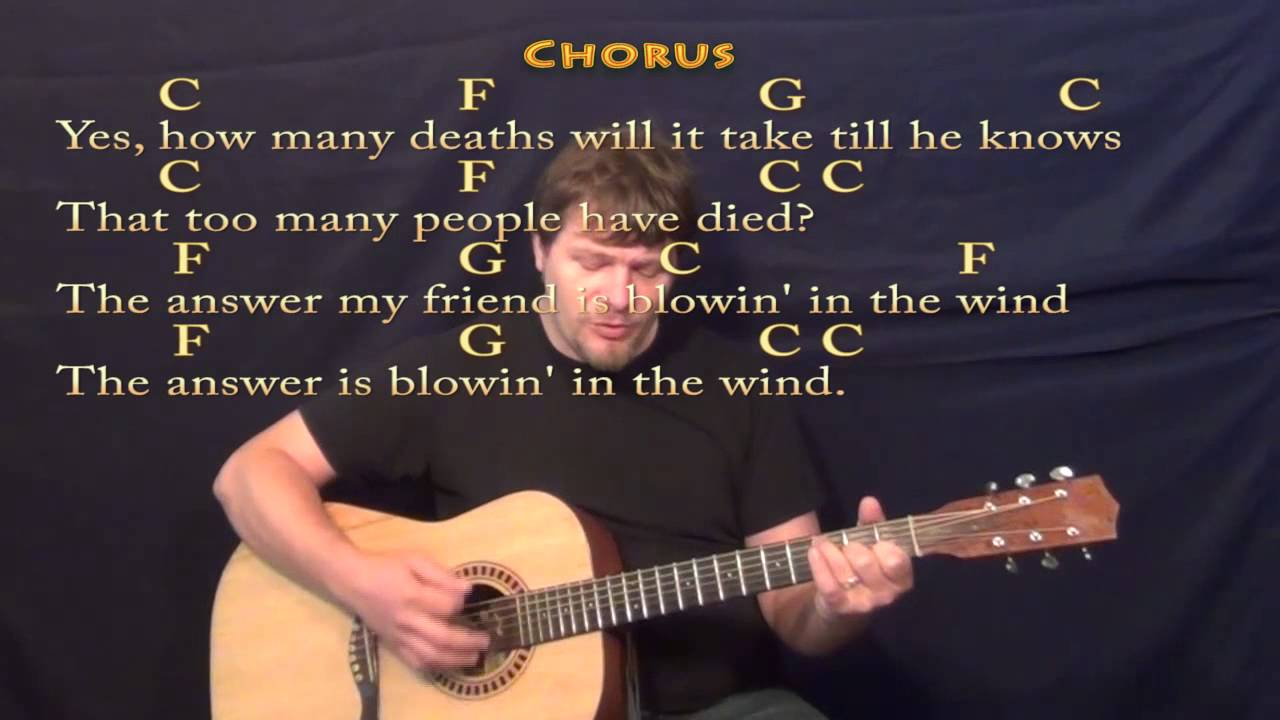 Blowin In The Wind Bob Dylan Strum Guitar Cover Lesson In C With