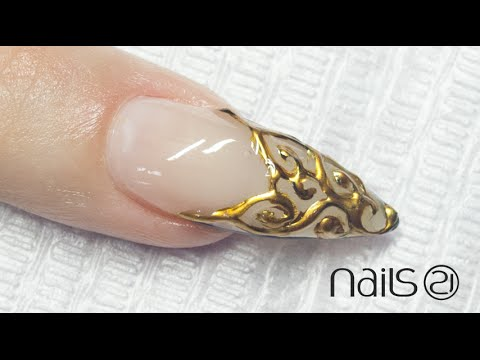 Platinum 3D Nail Art . French Gold Barroque (3)