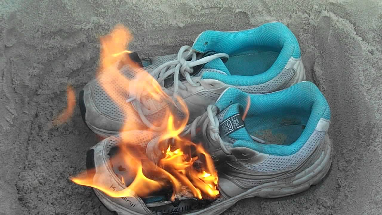 Image result for burning sneakers