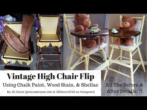 DIY Retro/Vintage High Chair Makeover! {Chalk Painting An Old High Chair Yellow} BEFORE AND AFTER