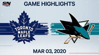 NHL Highlights   Maple Leafs vs. Sharks – Mar. 3, 2020