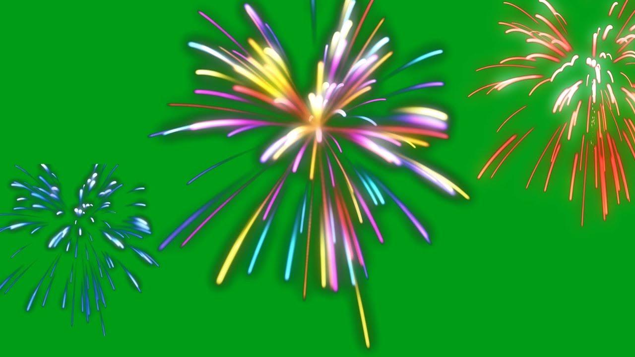 colour fireworks - green / black screen effect